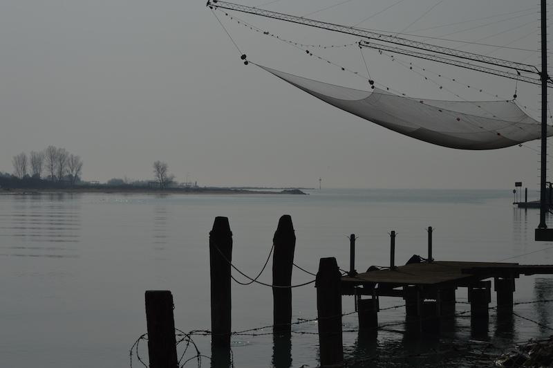 Rete da pesca sul Piave verso Cortellazzo (VE). Foto di Santina Pompeo
